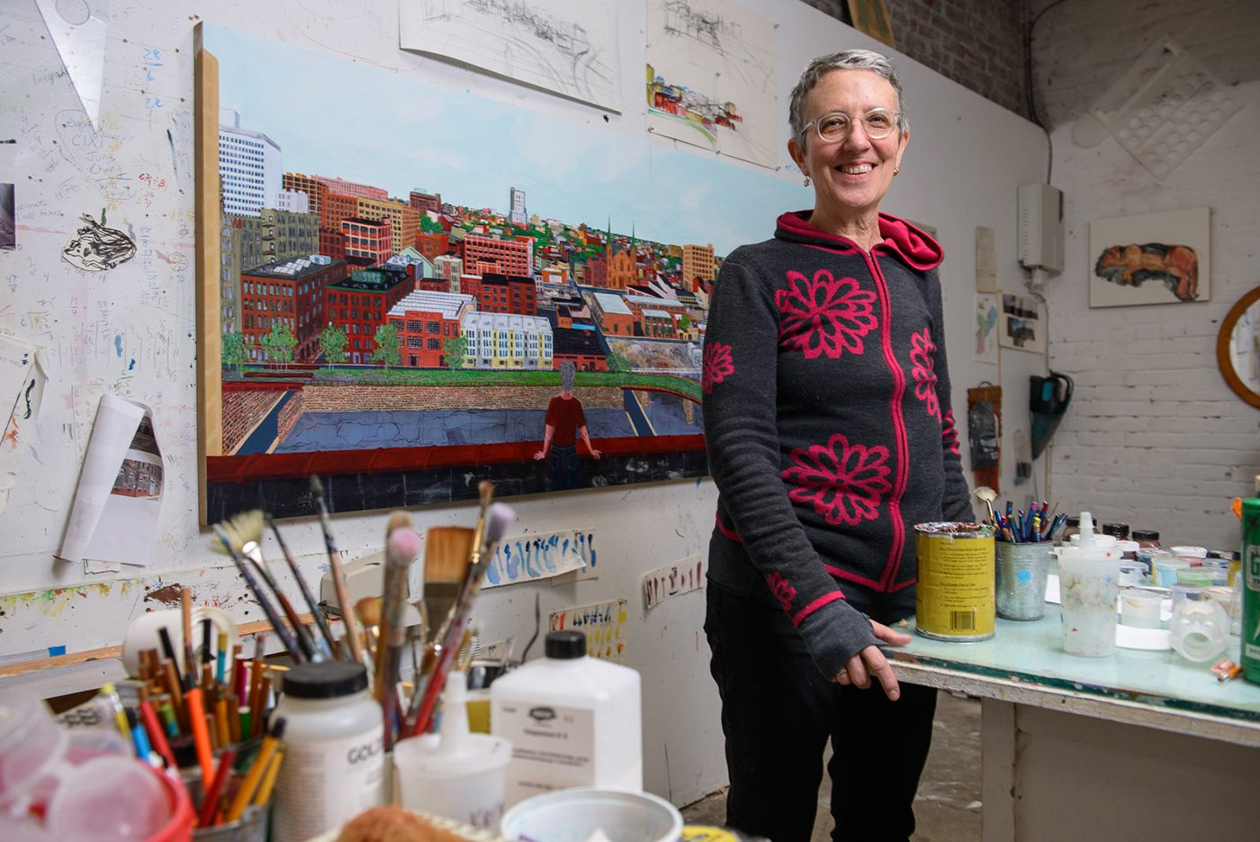 Sarah McEneaney in her Callowhill studio
